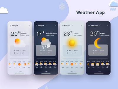 Weather forecast - Mobile App Deisign colour ios minimal search location forecasting wind mobile design weather icon weather forecast app moon sunny cloudy rainy weather app design uiux mobile app app ux ui