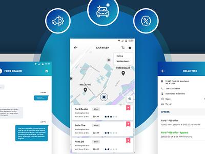 Car app location design car app ui design