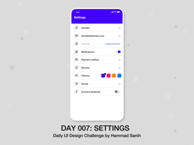 DailyUI 007 Settings Mockup