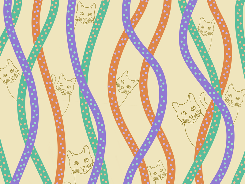 Caturday Squiggles drawing graphic design pattern artist pattern a day patterns caturday orange teal purple yellow squiggles animal illustration animals kitty cats polka dots pattern art illustration pattern design pattern