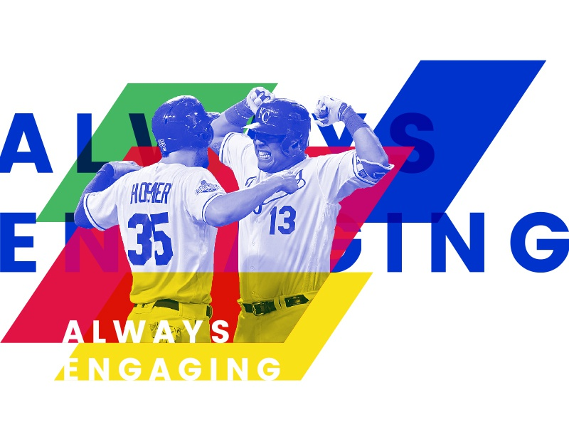 Always Engaging layers parallelogram colors baseball kansas city royals media sports news photograph design branding