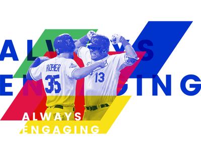 Always Engaging layers parallelogram colors baseball kansas city royals media sports news photograph design branding