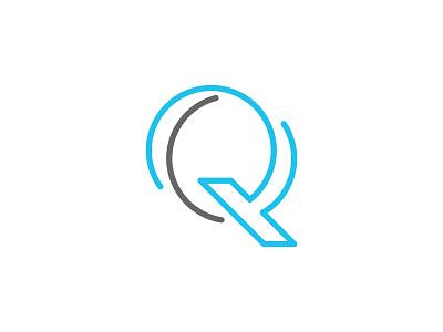 Q lines mark logo q gray cyan