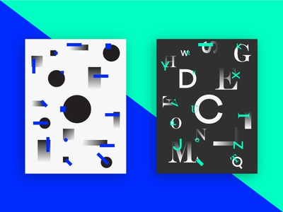 Posters system scale contrast lines shapes posters green blue