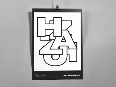 HUZZAH wip typography mockup print huzzah studio poster