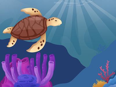 turtle in the sea icon branding sea design art turtle vector illustration fla motion graphics graphic design animation