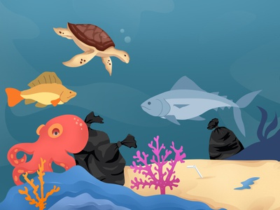 Underwater life that has been polluted by plastic waste design icon flat vector art illustration flatdesign ui branding motion graphics graphic design animation