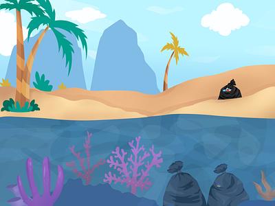 The seaside atmosphere is full of trash sea beach trash flatdesign art logo flat vector illustration icon design branding motion graphics graphic design animation ui