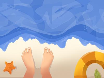 Beautiful beach view view beach flatdesign flat vector icon illustration design art branding logo motion graphics graphic design ui animation