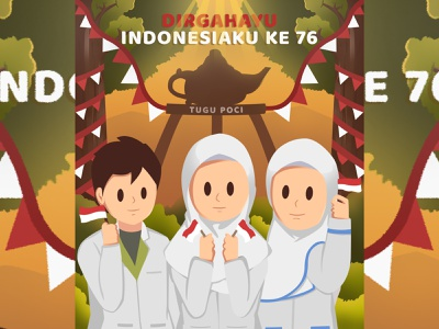 Welcome indonesian independence day art branding logo flat animation vector illustration icon design