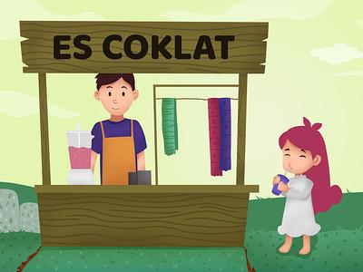 Nina buys chocolate ice ui branding logo art flat animation vector illustration icon design