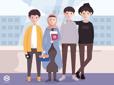 Team Work art teamwork ui branding icon flat design vector illustration