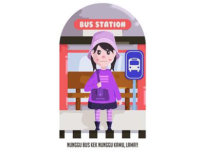 Hanna Waiting Bus acp.stds bus transportation illustrator flat  design web minimal teamwork cute art colorful art childrenillustration branding artwork animation vector illustration icon flat design art