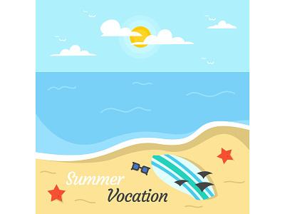 Summer Vocation on The Beach summer flat desig potrait landscape vocation illustrator minimal cute art acp.stds colorful art artwork animation vector illustration icon flat design art