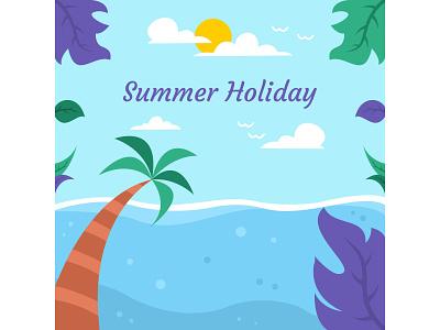 Summer Holiday beach holiday summer flat desig potrait landscape vocation illustrator minimal cute art acp.stds colorful art artwork animation vector illustration icon flat design art