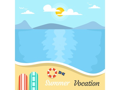 Summer Vocation on The Beach beach holiday summer flat desig potrait landscape vocation illustrator minimal cute art acp.stds colorful art artwork animation vector illustration icon flat design art