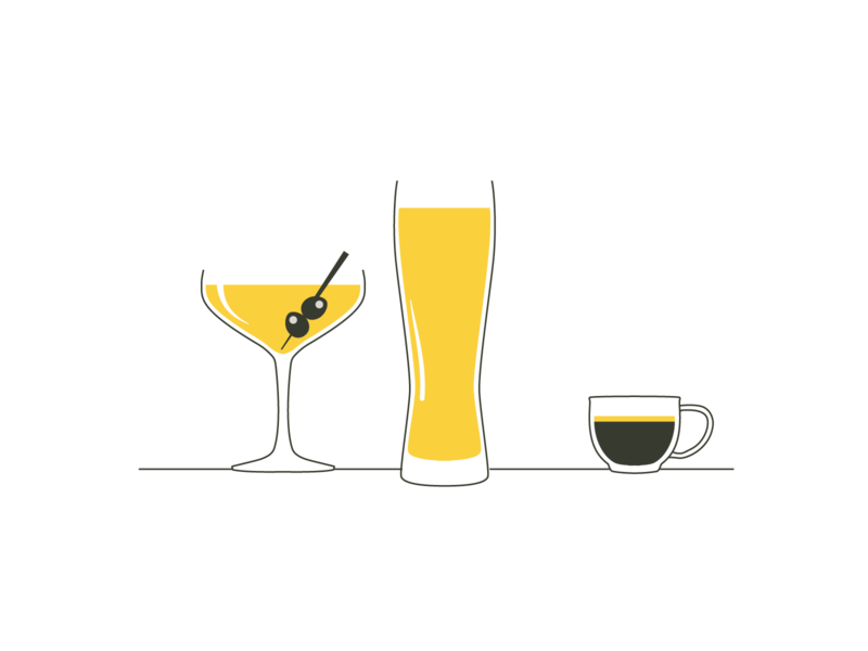 Tappy icons flat illustration minimal glasses drinks the new yorker style minimalism tappy branding icons illustration