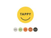 Tappy logo variations app logo smiling logo smiley face vector flat illustration color scheme branding logo tappy