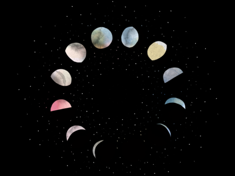 Phases of the moon digital illustration sketch iornament