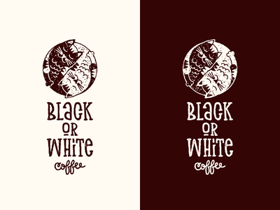 Black Or White yin and yang design logo typography lettering vector illustration cat coffee