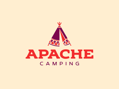Apache Camping apache teepee tipi indians lettering logo typography design illustration vector