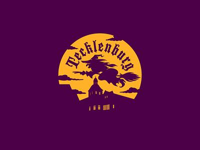 Tecklenburg town hall broom flight witch lettering logo typography design illustration vector