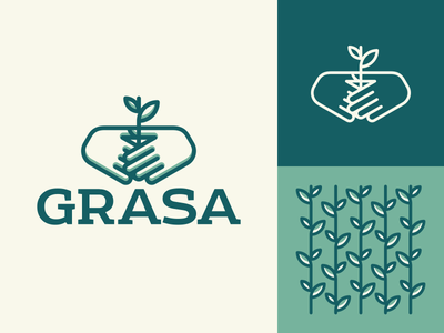 Grasa massage sprout hands logo typography design illustration vector