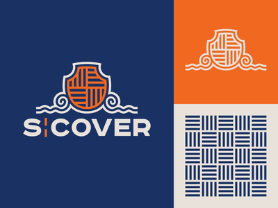 S Cover wave coat of arms crest logo typography design illustration vector