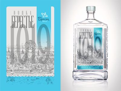 1019 millennium brest old city vodka label design print typography design illustration