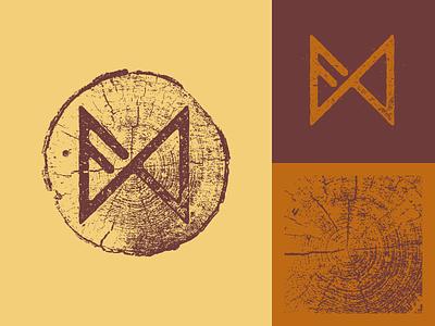 Runes lettering wood runes logo design vector illustration