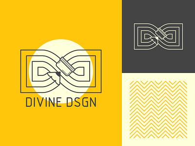 Divine Design infinity pencil monogram logo typography design vector illustration