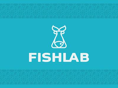 Fishlab tube fish logo typography design vector illustration