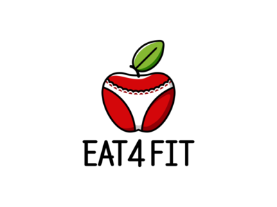 Eat 4 Fit apple lettering logo typography design illustration vector