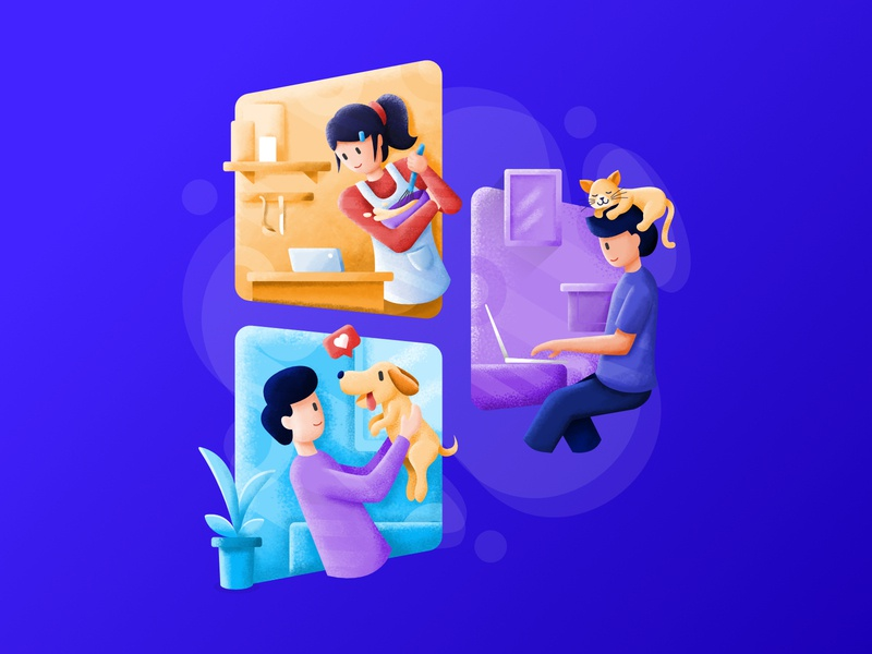 Daily life at Home stay home workfromhome wfh corona quarantine stayathome flat illustration illustration