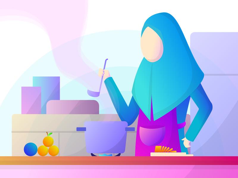 Preparing Iftar - Ramadan ramadan kareem ramadan islamic vector uiux pink web app indonesia flat illustration illustration landing page flat ui simple digital design