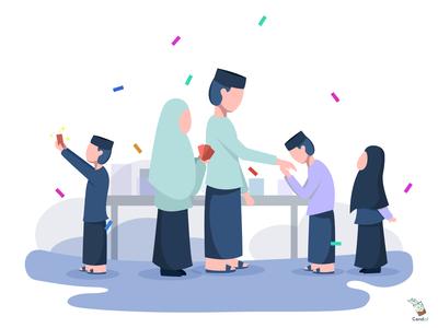 Eid mubarak - Happy Eid! islamic typography app indonesia flat illustration landing page illustration flat ui simple digital design eid