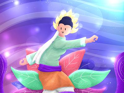 34HPI - Kepulauan Riau illustration natural painting kungfu leaf tropical local indonesian colorful digital dance