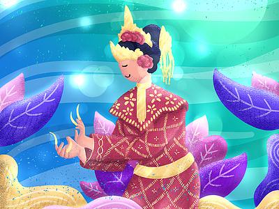 34HPI - Sumatra Selatan glowing colorfull leaf local dance indonesia flat illustration flat simple design digital illustration