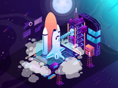 Productivity Launch Pad Isometric Illustration cosmos nebula stars technologies isometric meteor moon spaceships launchpad space rocket ui app landing page flat simple illustration design digital