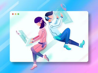 Couple data analyzer romance couple scifi future sapce illustration ui web