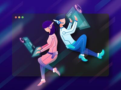 Couple Data Analyzer - Dark Mode uiux vector landing page flat illustration future dark theme dark ui illustration digital