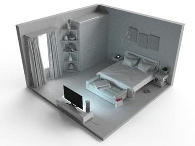 Clay bedroom in dark