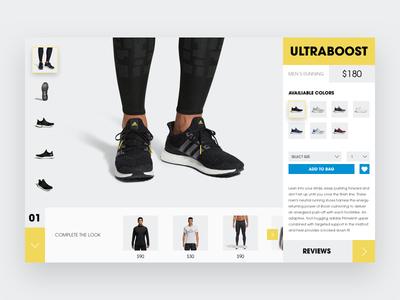 Adidas Shop Concept ultraboost sketch clean minimal layout web ui ux shop adidas