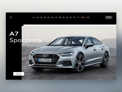 Audi Homepage layout design ux ui car clean sketch webdesign homepage website audi