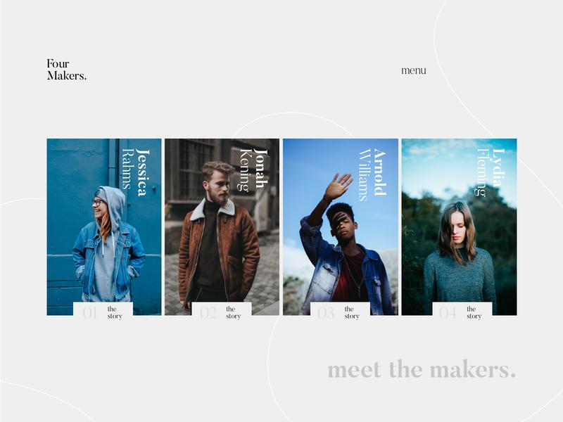 Four Makers. web ux ui typogaphy photo homepage design grid minimal website blog art