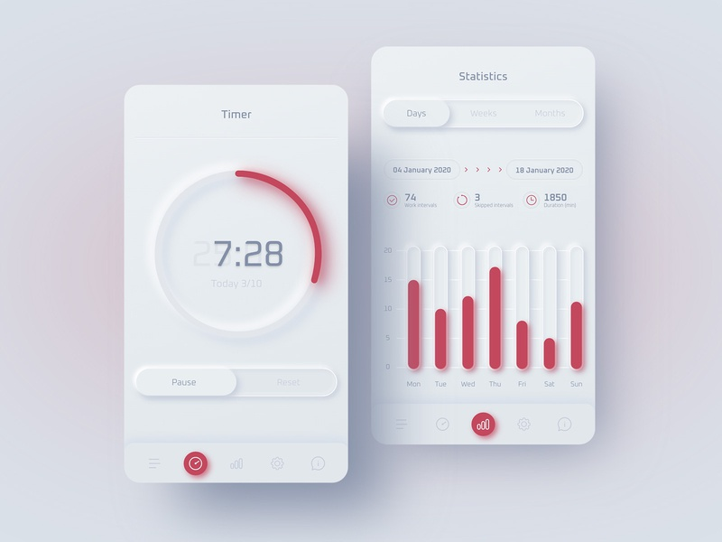Pomodoro timer app ui design neumorphism skeumorphism concept mobile ui mobile statistics timer pomodoro