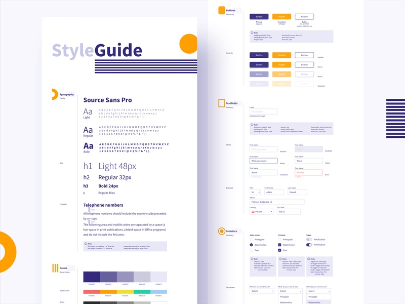 Style Guide rules selectors textfield buttons colors typogaphy styleguide