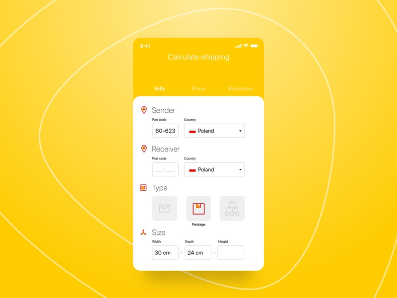 Calculator shipping form mobile ui ui concept app courier delivery shipping calculator