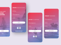 Registration forms createwithadobexd surfer surfing gradient concept registration form log in sign up mobile ui mobile app adobe xd