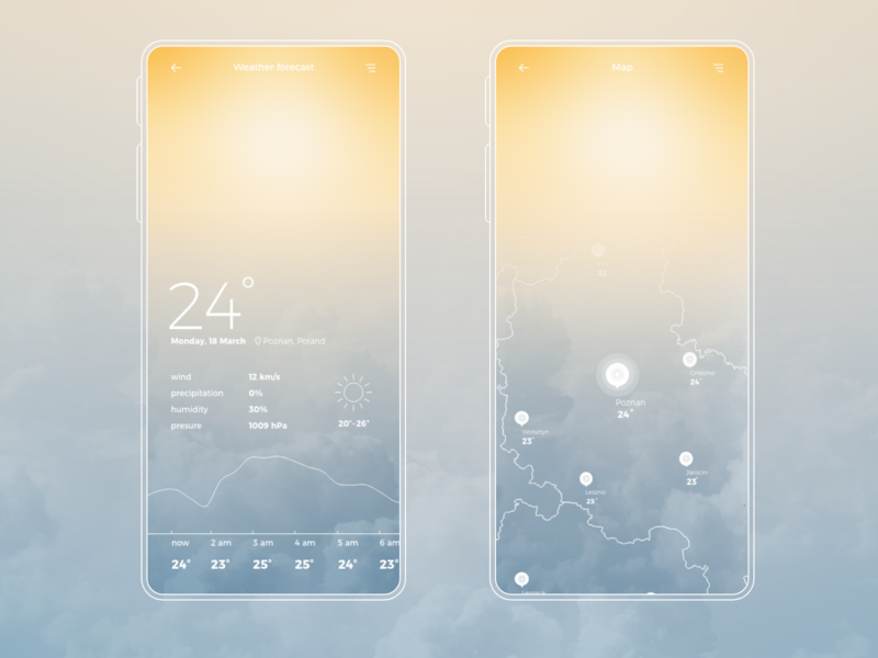 Weather app mobile ui map uidesign ui concept gradient mobile app weather forecast sunny day weather